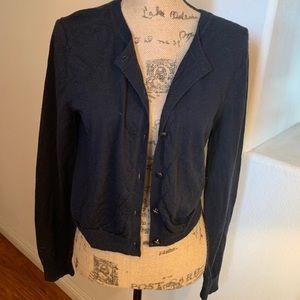 Tory Burch navy blue cardigan sweater XL